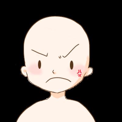怒っている顔