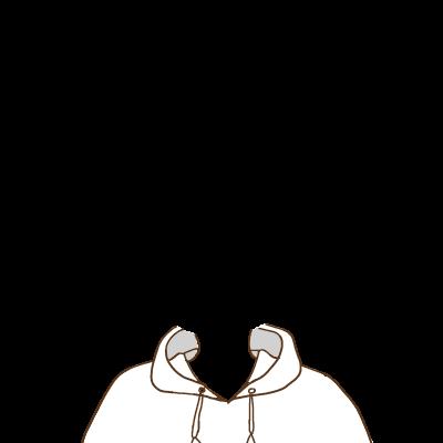 白いフードパーカー